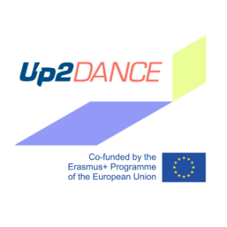 image presents up2dance project logo with the project name and logo of the Erasmus plus programme